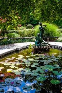 The Secret Garden statue in the lily pond, sculpted by Bessie Potter Vonnoh.